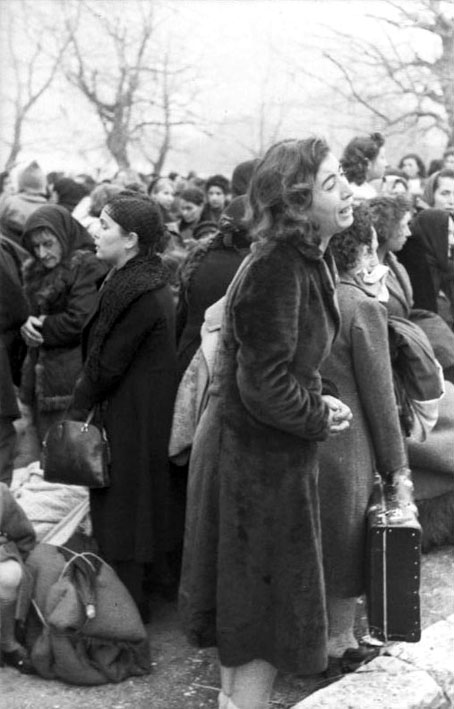 Woman weeping during the deportation of Greek Jews