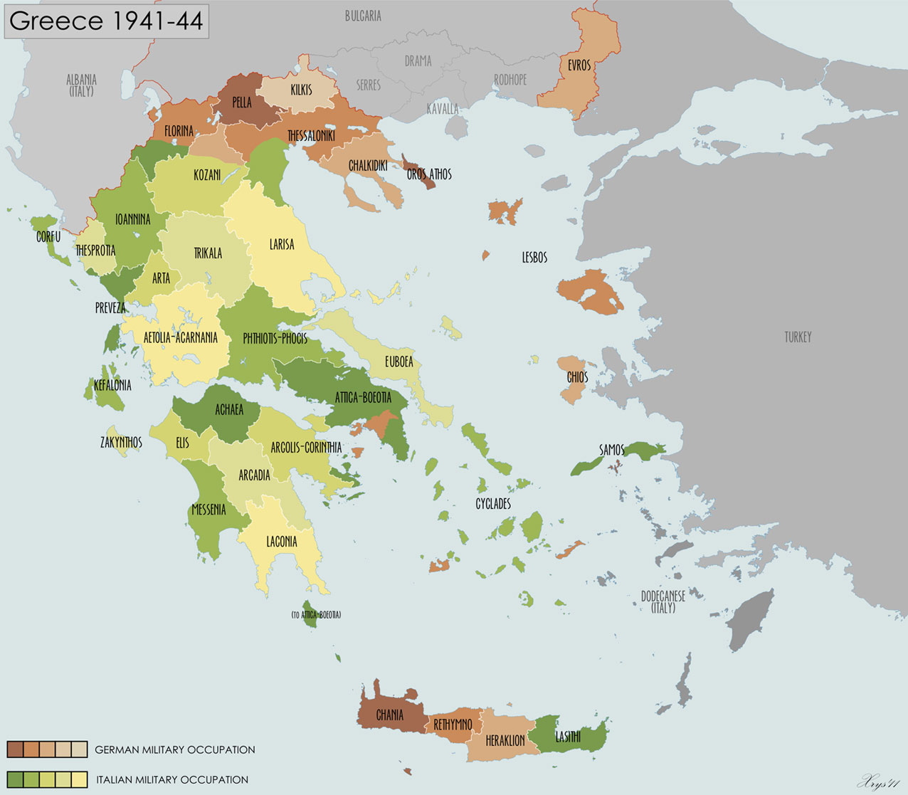 Map of Greece showing German/Italian occupied areas