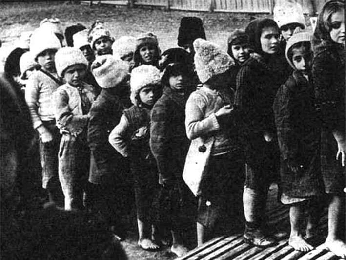 Group of Greek children during Greek civil war.
