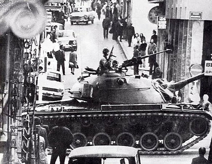 A Greek army tank on the streets of Athens following the Junta coup; 21 April, 1967